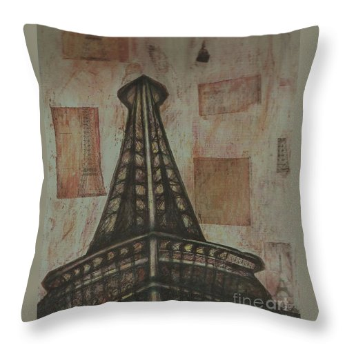 Structures Throw Pillow featuring the painting Iffel Tower by Sidra Myers