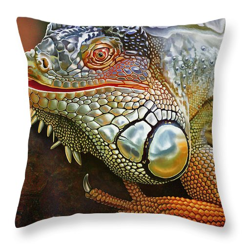 Drawing Throw Pillow featuring the painting Iguana Full Of Color by Jovemini ART