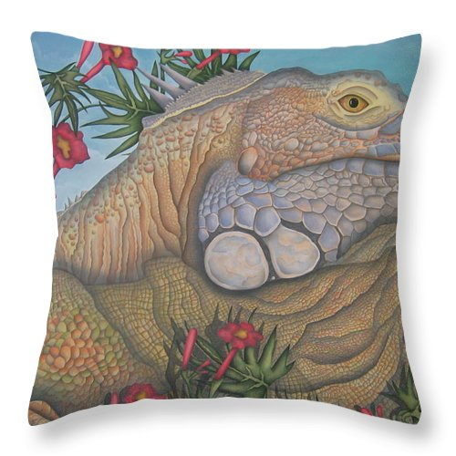 Lizard Throw Pillow featuring the painting Iguana Iguana by Jeniffer Stapher-Thomas