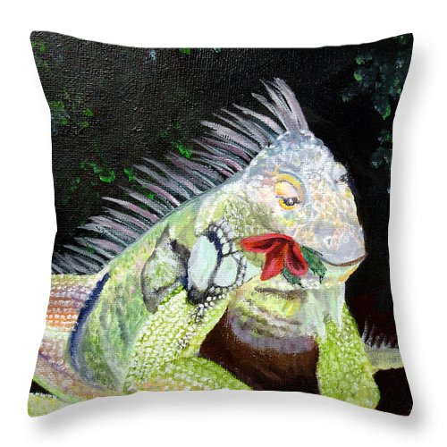 Lizard Throw Pillow featuring the painting Iguana Midnight Snack by Susan Kubes