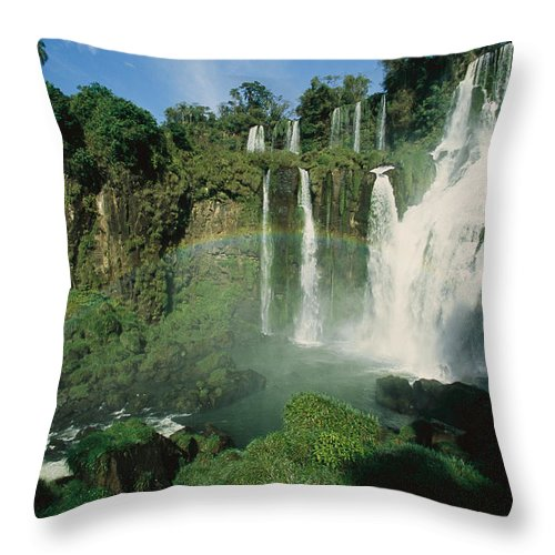 Day Throw Pillow featuring the photograph Iguazu Waterfalls With A Rainbow by Roy Toft