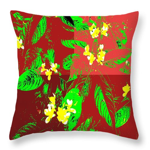 Square Throw Pillow featuring the digital art Ikebana by Eikoni Images