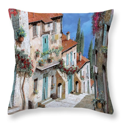 Balcony Throw Pillow featuring the painting Il Balcone Fiorito by Guido Borelli
