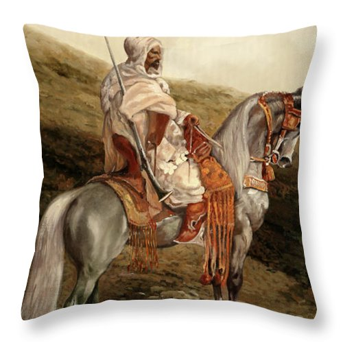 Knight Throw Pillow featuring the painting Il Cavaliere by Guido Borelli