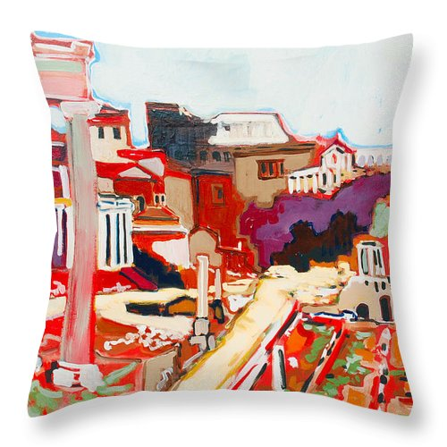 Rome Throw Pillow featuring the painting Il Foro Romano by Kurt Hausmann