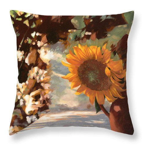 Sunflower.sunflowers Field Throw Pillow featuring the painting Il Girasole by Guido Borelli