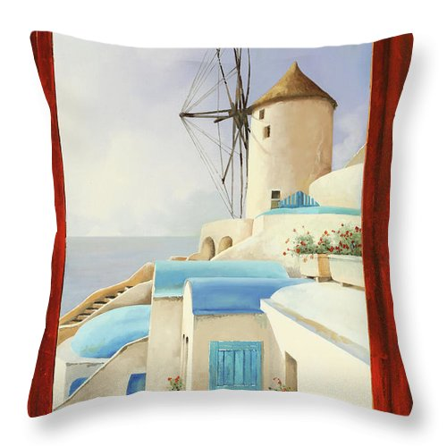 Windmill Throw Pillow featuring the painting Il Mulino Oltre La Finestra by Guido Borelli