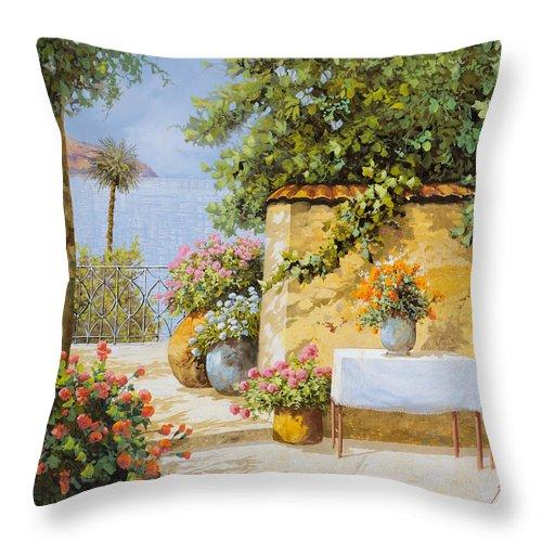 Seascape Throw Pillow featuring the painting Il Muretto E Il Mare by Guido Borelli