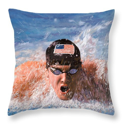 Swim Throw Pillow featuring the painting Il Nuotatore by Guido Borelli