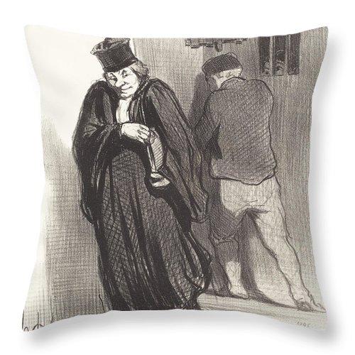 Throw Pillow featuring the drawing Il Parait... Que Mon Gaillard Est Un Grand Sc?l?rat... by Honor? Daumier