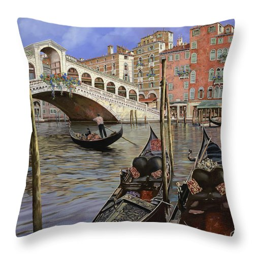 Venice Throw Pillow featuring the painting Il Ponte Di Rialto by Guido Borelli