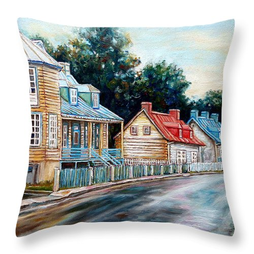 Ile D'orleans Throw Pillow featuring the painting Ile D'orleans Quebec Street Scene by Carole Spandau