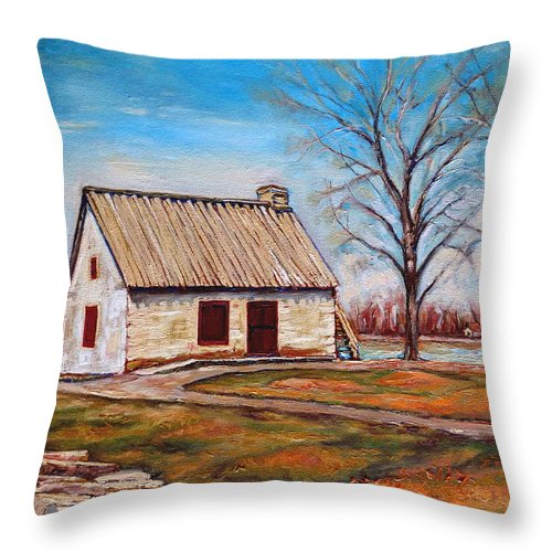 Ile Perrot Throw Pillow featuring the painting Ile Perrot House by Carole Spandau
