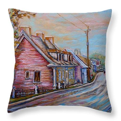 Ile D'orleans Throw Pillow featuring the painting Iles D'orleans Quebec Village Scene by Carole Spandau