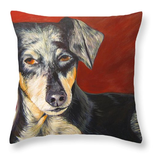 Dog Throw Pillow featuring the painting I'll Be With You Momentarily by Hunter Jay
