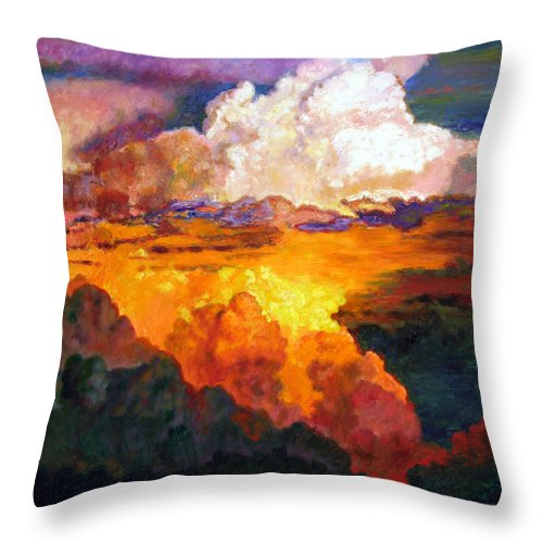 Clouds Throw Pillow featuring the painting Ill Fly Away O Glory by John Lautermilch
