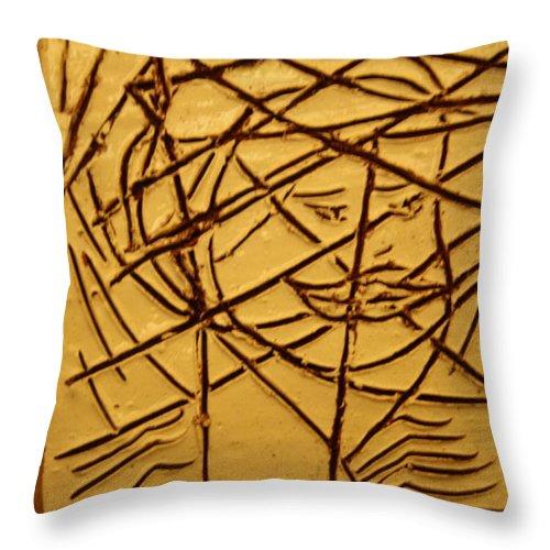 Jesus Throw Pillow featuring the ceramic art Illuminate - Tile by Gloria Ssali