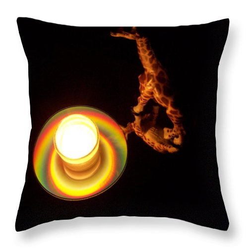 Giraffe Throw Pillow featuring the photograph Illuminated Objects by Michelle Miron-Rebbe