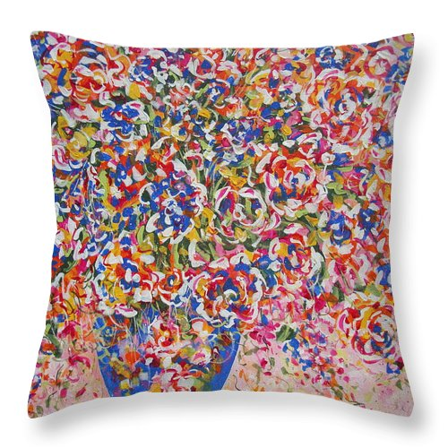 Flowers Throw Pillow featuring the painting Illumination by Natalie Holland