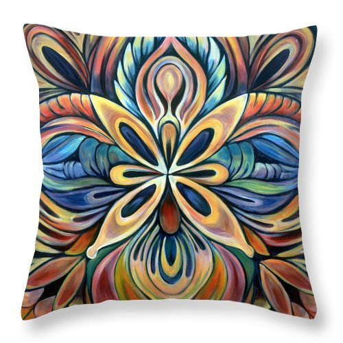 Mandala Throw Pillow featuring the painting Illumination by Shadia Derbyshire