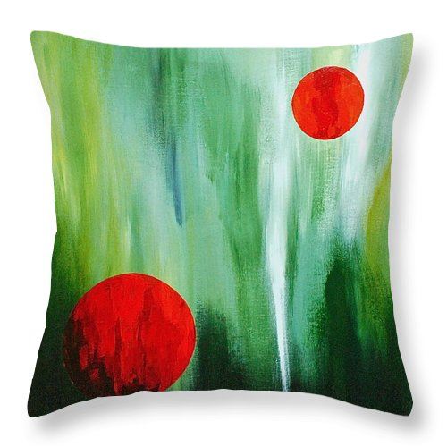 Abstract By Herschel Fall Red And Green Throw Pillow featuring the painting Illusion Of Light by Herschel Fall