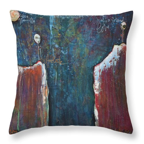 Lollipops Throw Pillow featuring the painting I'm Holding On by Laurie Maves ART