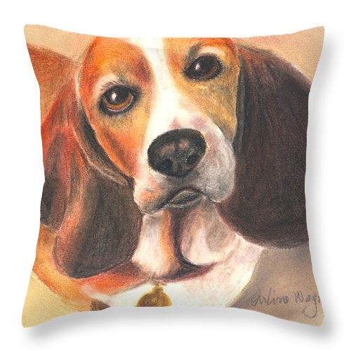 Dog Throw Pillow featuring the pastel I'm Innocent...the Cat Did It by Arline Wagner