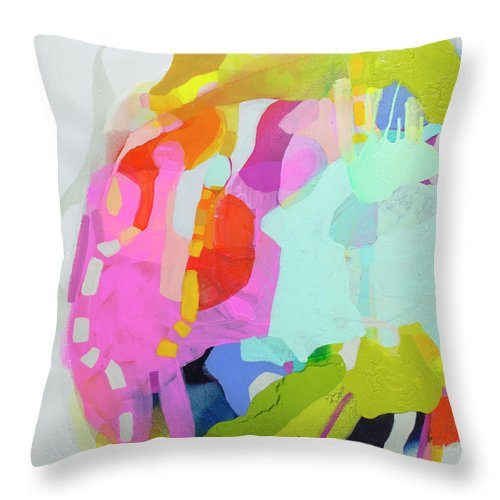Abstract Throw Pillow featuring the painting I'm So Glad by Claire Desjardins