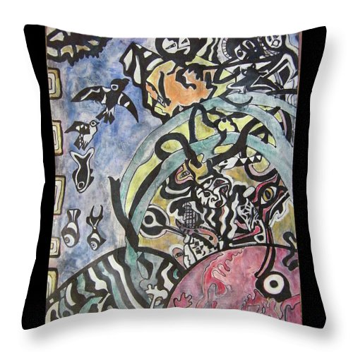 Psychology Throw Pillow featuring the painting Images From The Collective Unconscious by Mimulux patricia No