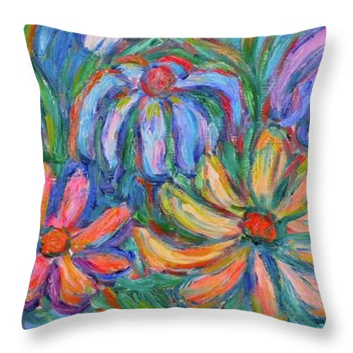 Flowers Throw Pillow featuring the painting Imaginary Flowers by Kendall Kessler