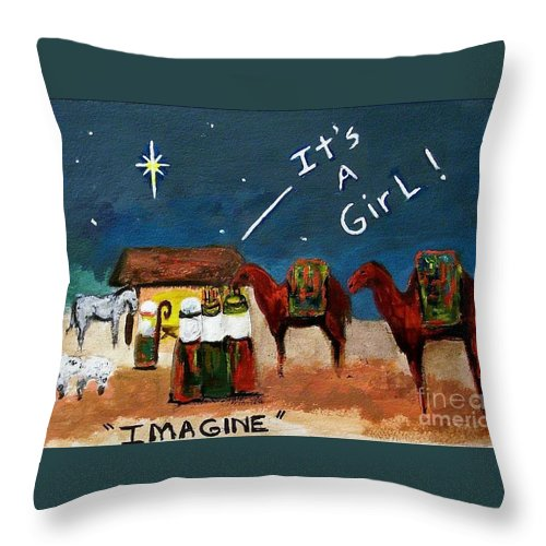 Christmas Card Throw Pillow featuring the painting Imagine by Frances Marino