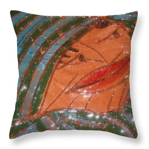 Jesus Throw Pillow featuring the ceramic art Imelda - Tile by Gloria Ssali