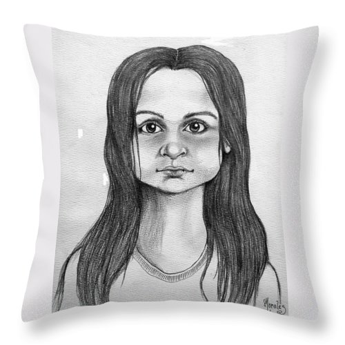 Portrait Throw Pillow featuring the drawing Immigrant Girl by Marco Morales