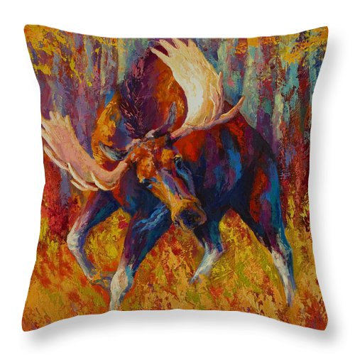 Moose Throw Pillow featuring the painting Imminent Charge - Bull Moose by Marion Rose