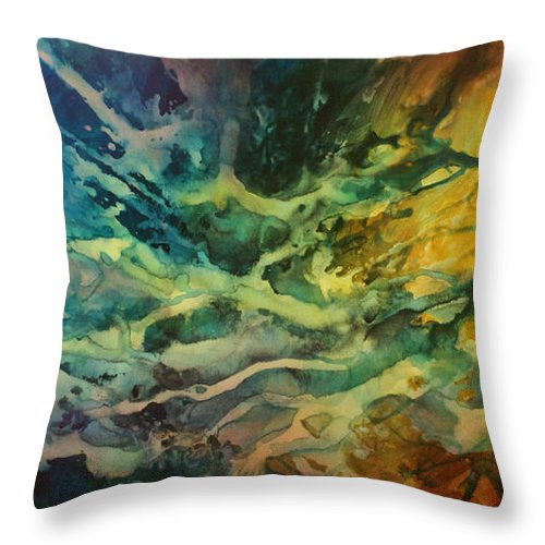 Abstract Design Throw Pillow featuring the painting Impact by Michael Lang