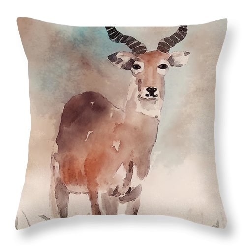 Animal Throw Pillow featuring the digital art Impala by Arline Wagner
