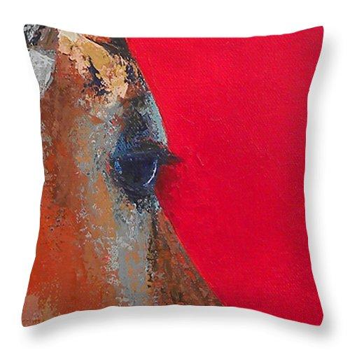 Impala Throw Pillow featuring the painting Impala On Crimson Close-up by Karen Macek