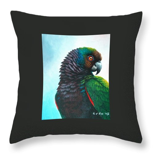 Chris Cox Throw Pillow featuring the painting Imperial Parrot by Christopher Cox
