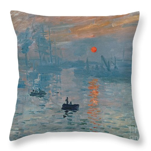 Impression Throw Pillow featuring the painting Impression Sunrise by Claude Monet