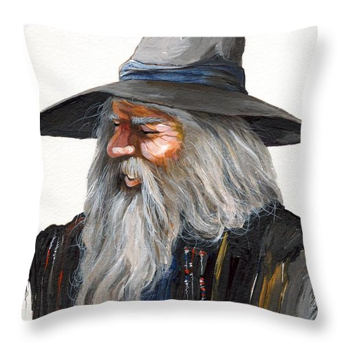 Fantasy Art Throw Pillow featuring the painting Impressionist Wizard by J W Baker