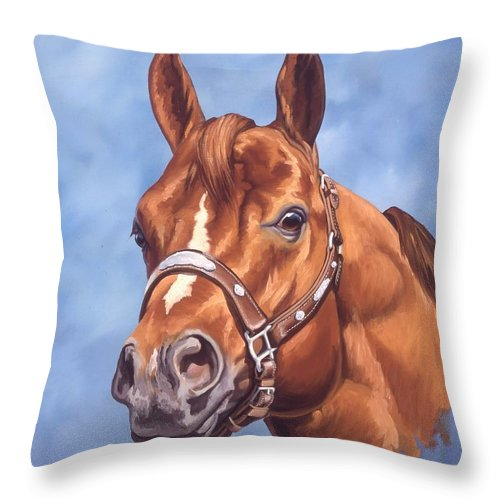 Quarter Horse Throw Pillow featuring the painting Impressive by Howard Dubois