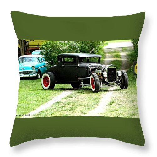 Black Impressive Mood Car Auto Automobile Classic Vintage Collect Collection Life Throw Pillow featuring the photograph Impressive. by Stevie Ellis