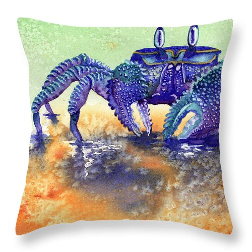 Crab Throw Pillow featuring the painting In A Blue Mood by Tracy L Teeter
