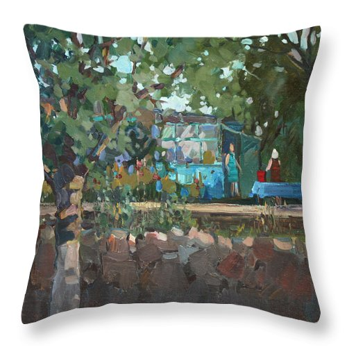 Summer Throw Pillow featuring the painting In A Garden At The Grandmother by Juliya Zhukova