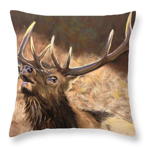 Elk Throw Pillow featuring the painting In A Rut by Janae Lehto