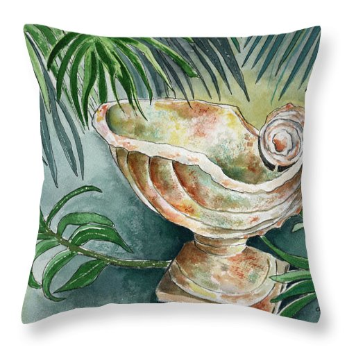 Still Life Throw Pillow featuring the painting In A Tropical Garden by Brenda Owen