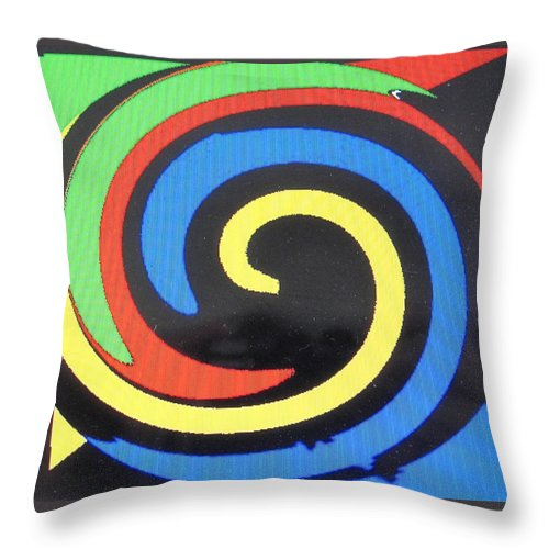 Red Throw Pillow featuring the digital art In Balance by Ian MacDonald