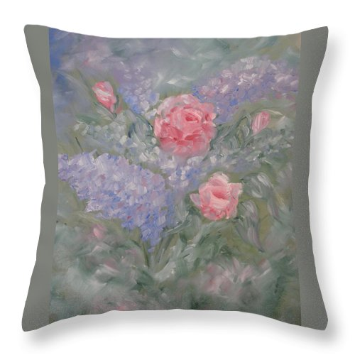 Flowers Throw Pillow featuring the painting In Bloom by Carrie Mayotte