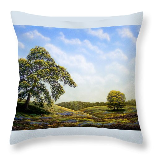 Landscape Throw Pillow featuring the painting In Bloom by Frank Wilson