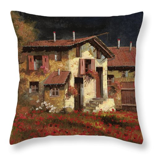 Landscape Throw Pillow featuring the painting In Campagna La Sera by Guido Borelli